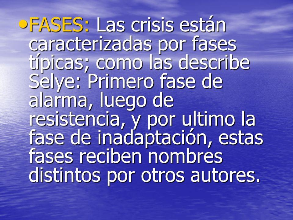 FASES: Las crisis están caracterizadas por fases típicas; como las describe Selye: Primero fase de alarma, luego de resistencia, y por ultimo la fase de inadaptación, estas fases reciben nombres distintos por otros autores.