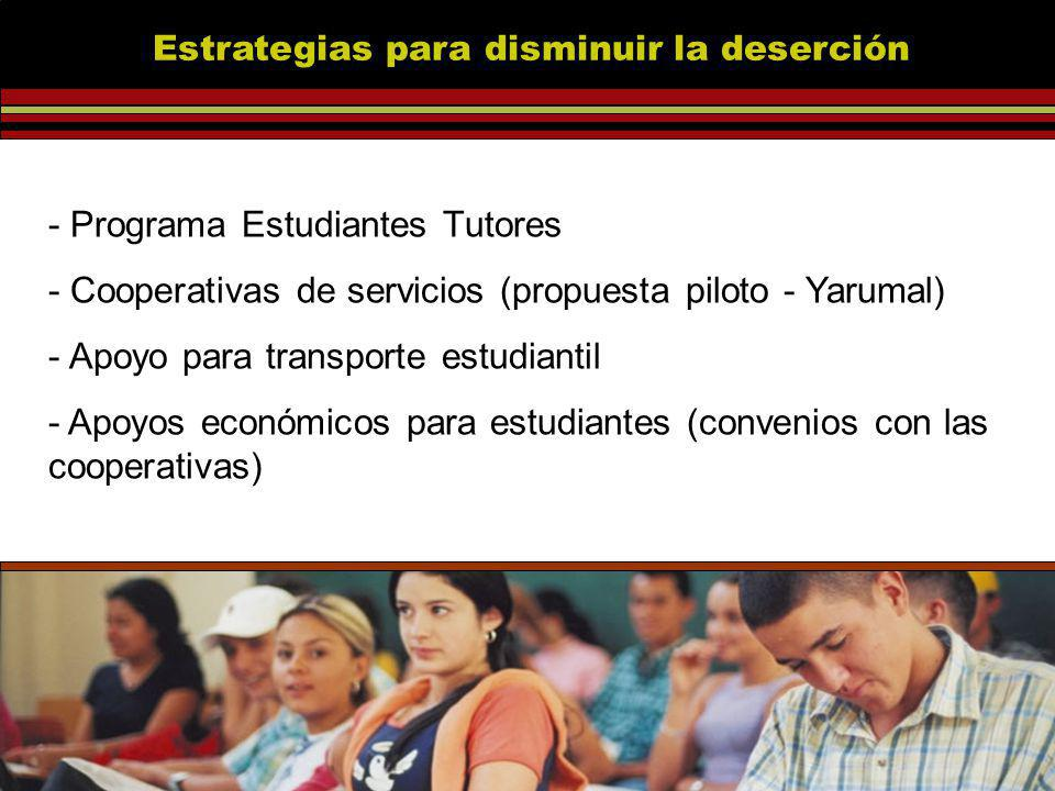 - Programa Estudiantes Tutores - Cooperativas de servicios (propuesta piloto - Yarumal) - Apoyo para transporte estudiantil - Apoyos económicos para estudiantes (convenios con las cooperativas) Estrategias para disminuir la deserción