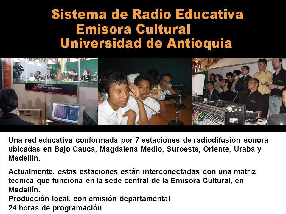 Alma Máter0 Una red educativa conformada por 7 estaciones de radiodifusión sonora ubicadas en Bajo Cauca, Magdalena Medio, Suroeste, Oriente, Urabá y Medellín.