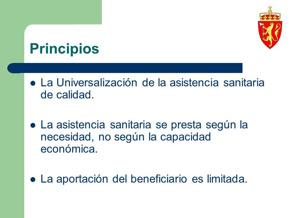 Principios La Universalización de la asistencia sanitaria de calidad. La asistencia sanitaria se presta según la necesidad, no según la capacidad econ