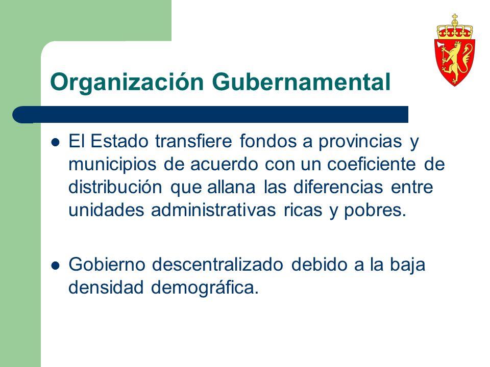 Organización Gubernamental El Estado transfiere fondos a provincias y municipios de acuerdo con un coeficiente de distribución que allana las diferenc