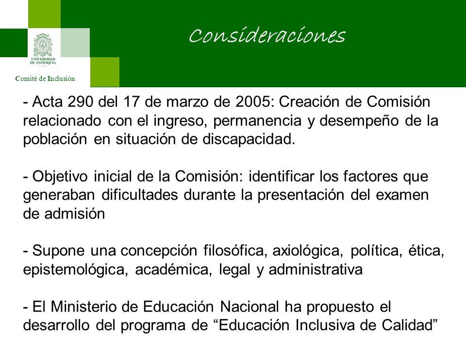 - Acta 290 del 17 de marzo de 2005: Creación de Comisión relacionado con el ingreso, permanencia y desempeño de la población en situación de discapacidad.