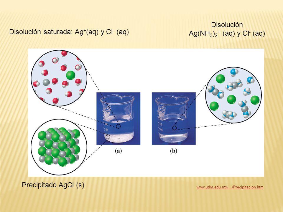 Precipitado AgCl (s) Disolución saturada: Ag + (aq) y Cl - (aq) Disolución Ag(NH 3 ) 2 + (aq) y Cl - (aq) www.utim.edu.mx/.../Precipitacion.htm