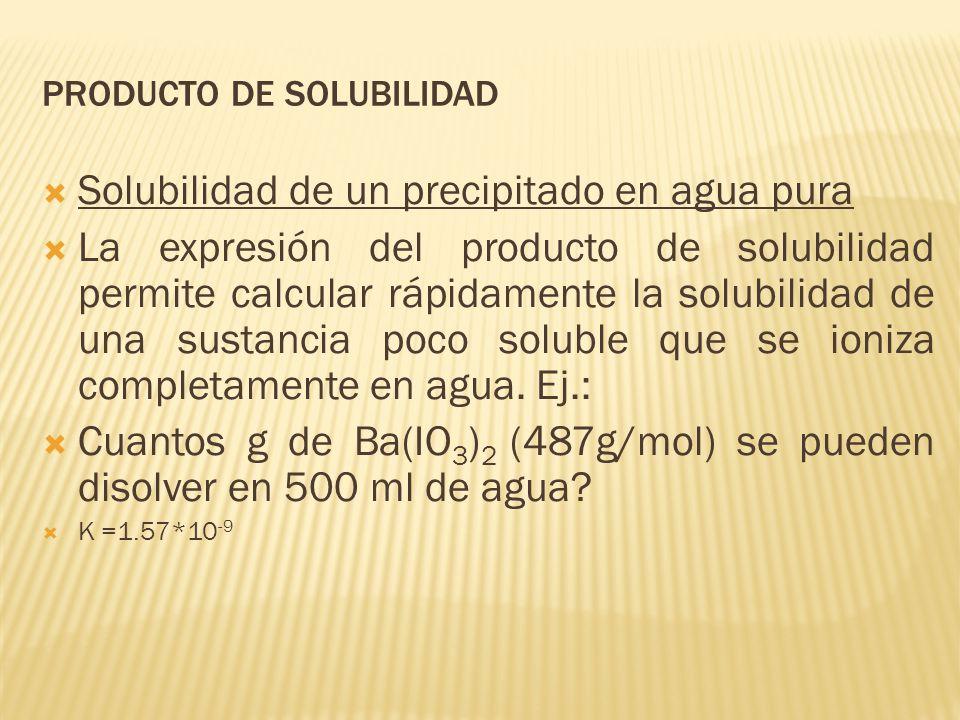 PRODUCTO DE SOLUBILIDAD Solubilidad de un precipitado en agua pura La expresión del producto de solubilidad permite calcular rápidamente la solubilida