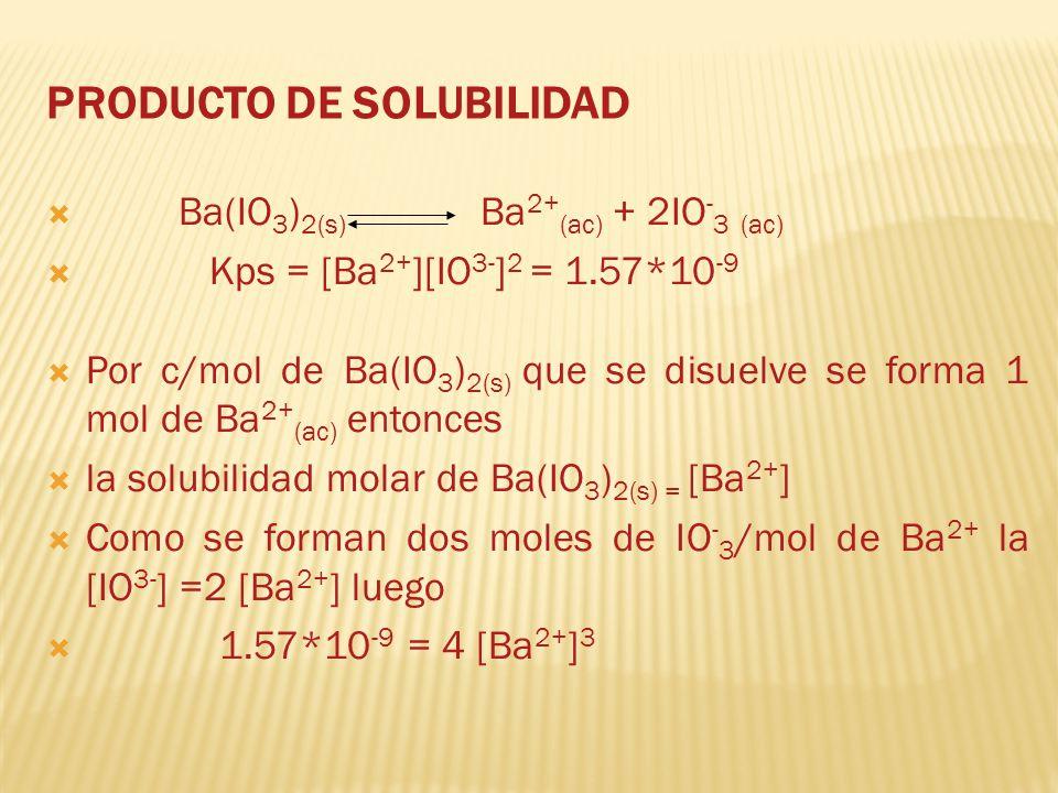 PRODUCTO DE SOLUBILIDAD Ba(IO 3 ) 2(s) Ba 2+ (ac) + 2IO - 3 (ac) Kps = [Ba 2+ ][IO 3- ] 2 = 1.57*10 -9 Por c/mol de Ba(IO 3 ) 2(s) que se disuelve se