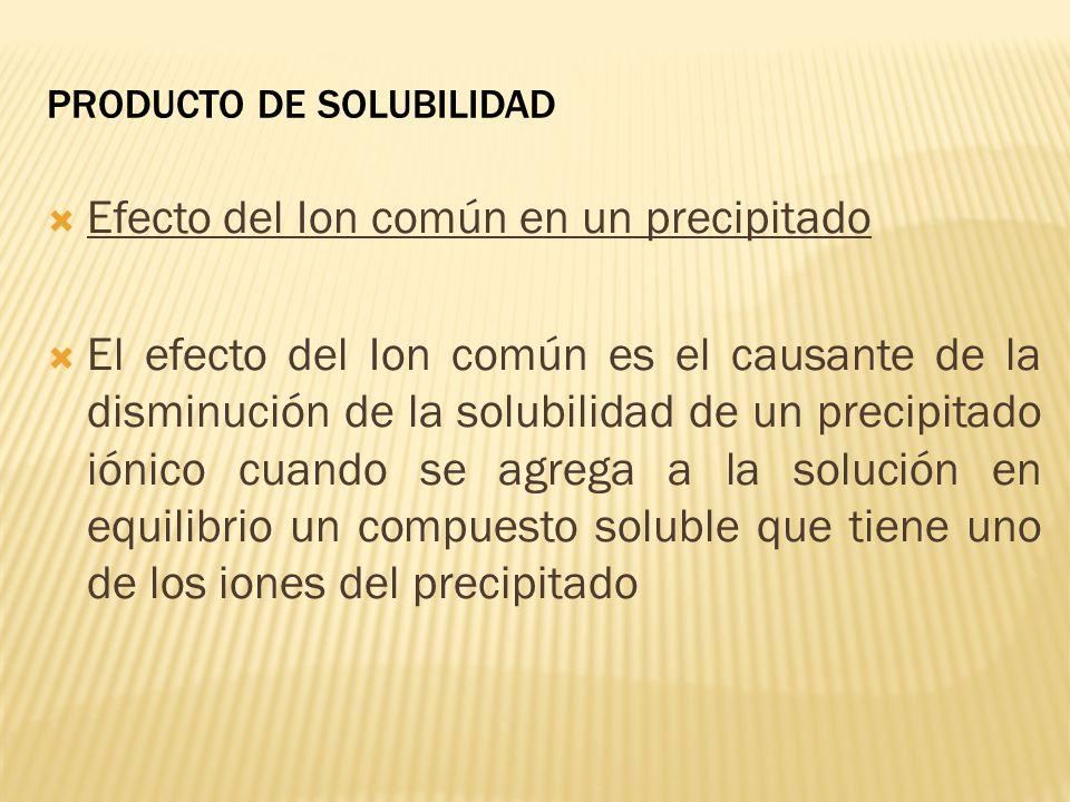 PRODUCTO DE SOLUBILIDAD Efecto del Ion común en un precipitado El efecto del Ion común es el causante de la disminución de la solubilidad de un precip