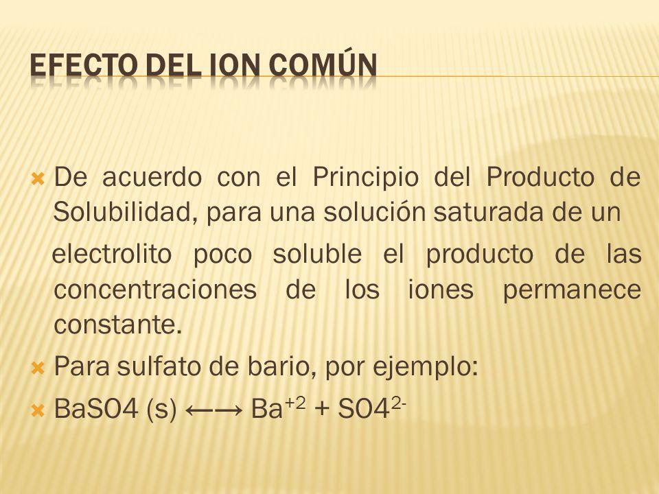De acuerdo con el Principio del Producto de Solubilidad, para una solución saturada de un electrolito poco soluble el producto de las concentraciones