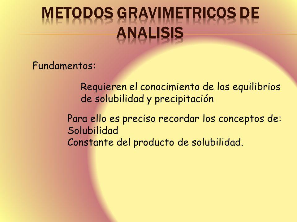 Fundamentos: Requieren el conocimiento de los equilibrios de solubilidad y precipitación Para ello es preciso recordar los conceptos de: Solubilidad C