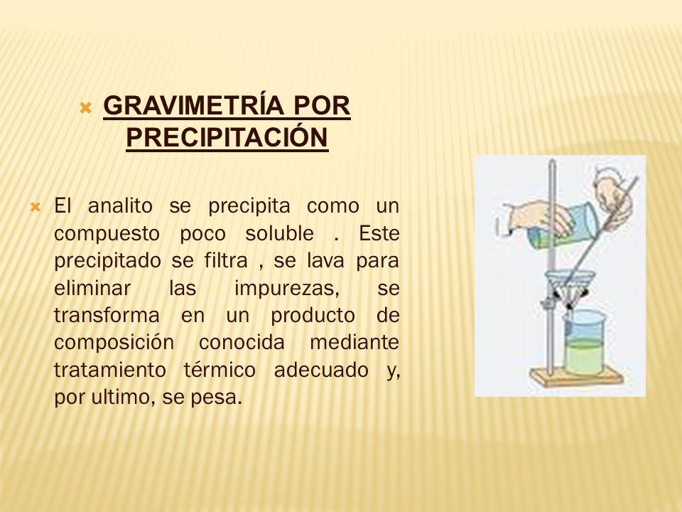 GRAVIMETRÍA POR PRECIPITACIÓN El analito se precipita como un compuesto poco soluble. Este precipitado se filtra, se lava para eliminar las impurezas,