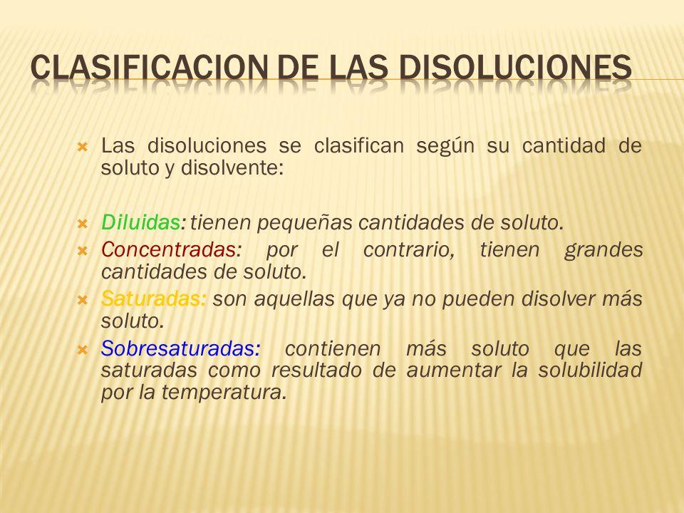 Las disoluciones se clasifican según su cantidad de soluto y disolvente: Diluidas: tienen pequeñas cantidades de soluto. Concentradas: por el contrari