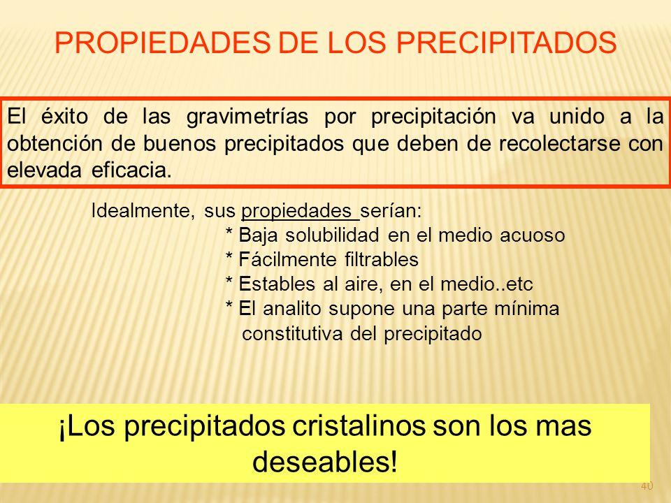 40 PROPIEDADES DE LOS PRECIPITADOS El éxito de las gravimetrías por precipitación va unido a la obtención de buenos precipitados que deben de recolect