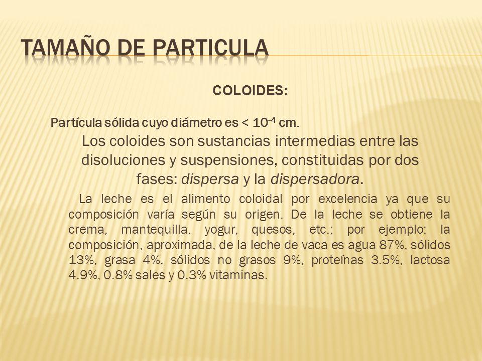 COLOIDES: Partícula sólida cuyo diámetro es < 10 -4 cm. Los coloides son sustancias intermedias entre las disoluciones y suspensiones, constituidas po