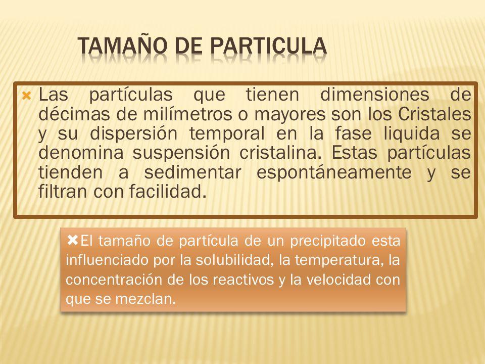 Las partículas que tienen dimensiones de décimas de milímetros o mayores son los Cristales y su dispersión temporal en la fase liquida se denomina sus