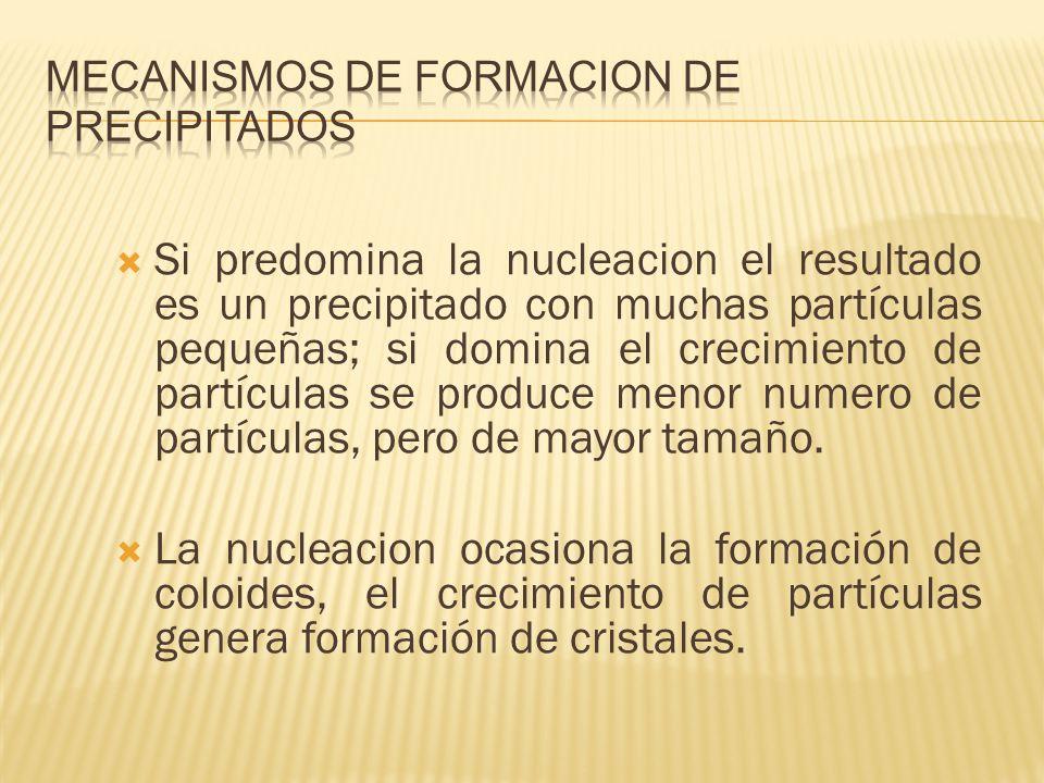 Si predomina la nucleacion el resultado es un precipitado con muchas partículas pequeñas; si domina el crecimiento de partículas se produce menor nume