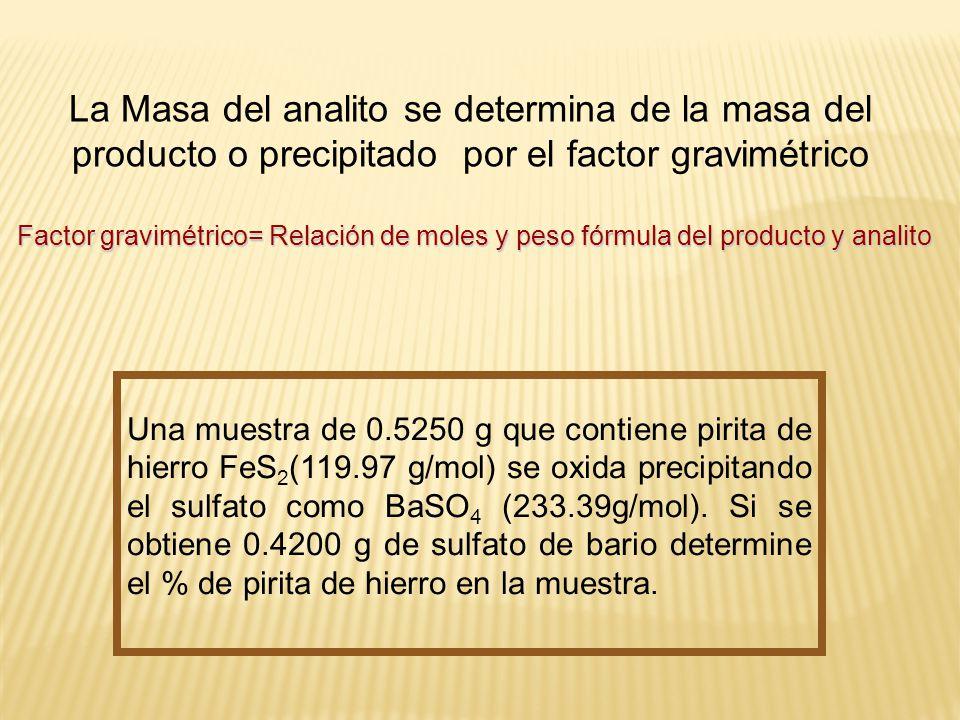 La Masa del analito se determina de la masa del producto o precipitado por el factor gravimétrico Factor gravimétrico= Relación de moles y peso fórmul