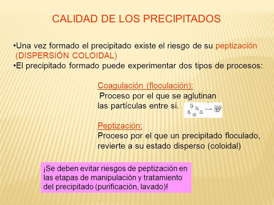 CALIDAD DE LOS PRECIPITADOS Una vez formado el precipitado existe el riesgo de su peptización (DISPERSIÓN COLOIDAL) El precipitado formado puede exper