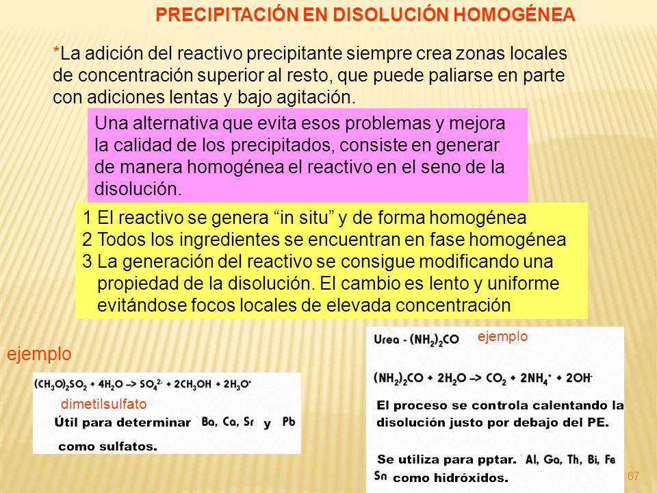 67 PRECIPITACIÓN EN DISOLUCIÓN HOMOGÉNEA *La adición del reactivo precipitante siempre crea zonas locales de concentración superior al resto, que pued