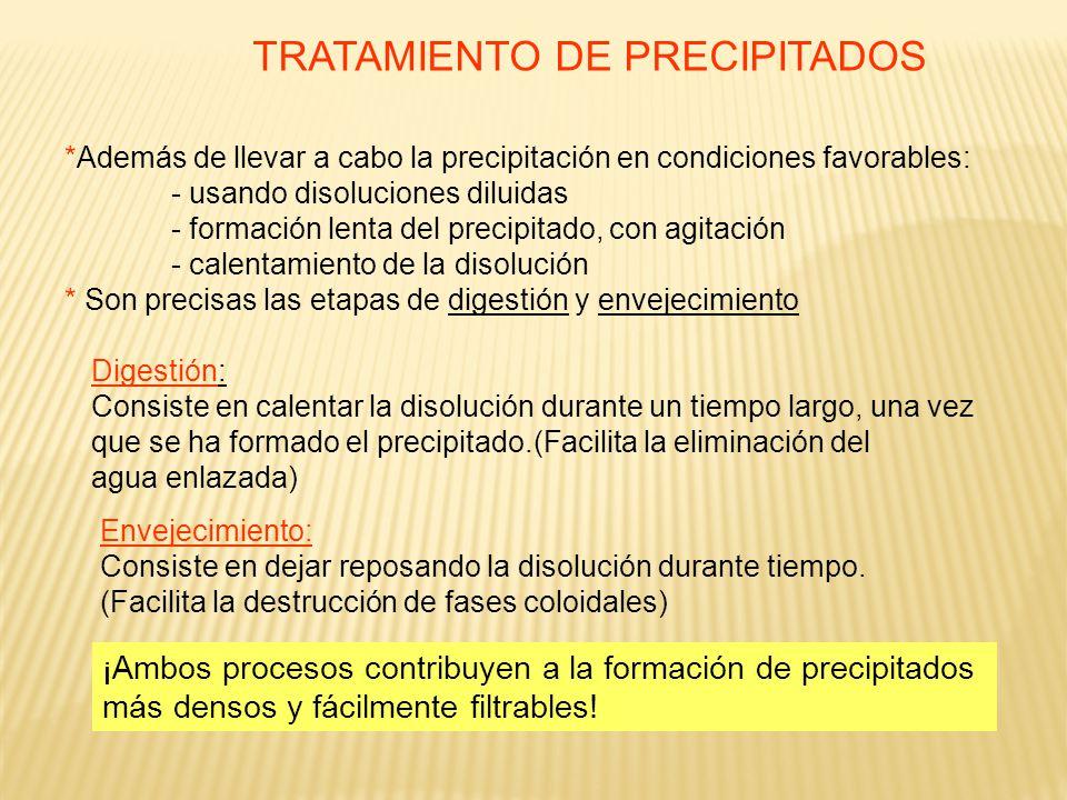 TRATAMIENTO DE PRECIPITADOS *Además de llevar a cabo la precipitación en condiciones favorables: - usando disoluciones diluidas - formación lenta del