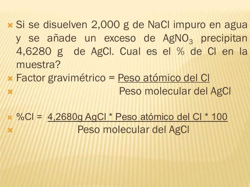 Si se disuelven 2,000 g de NaCl impuro en agua y se añade un exceso de AgNO 3 precipitan 4,6280 g de AgCl. Cual es el % de Cl en la muestra? Factor gr