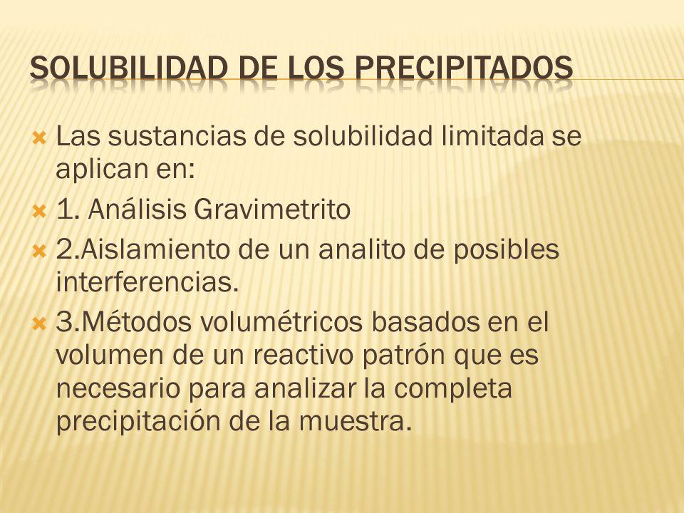 Las sustancias de solubilidad limitada se aplican en: 1. Análisis Gravimetrito 2.Aislamiento de un analito de posibles interferencias. 3.Métodos volum