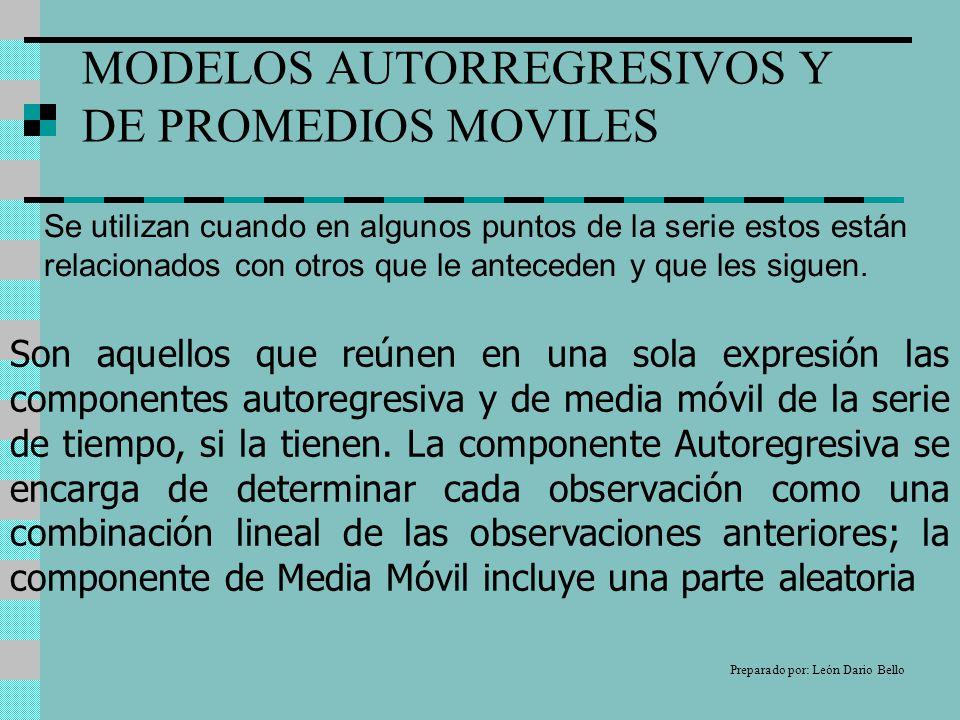 MODELOS AUTORREGRESIVOS Y DE PROMEDIOS MOVILES Se utilizan cuando en algunos puntos de la serie estos están relacionados con otros que le anteceden y que les siguen.