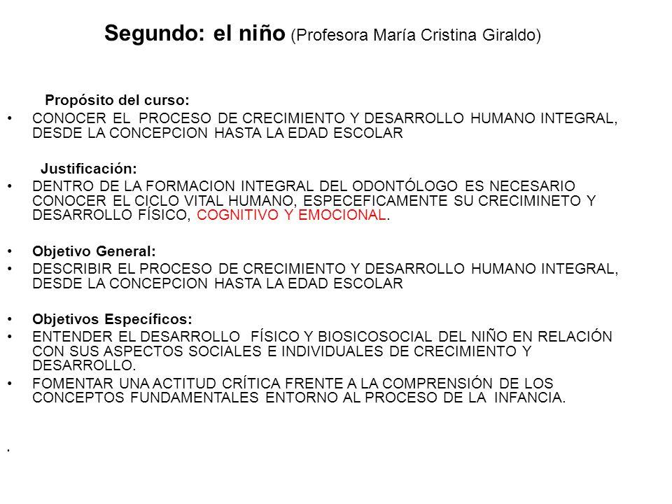 Segundo: el niño (Profesora María Cristina Giraldo) Propósito del curso: CONOCER EL PROCESO DE CRECIMIENTO Y DESARROLLO HUMANO INTEGRAL, DESDE LA CONC