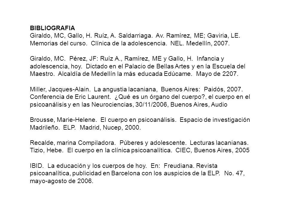 BIBLIOGRAFIA Giraldo, MC, Gallo, H. Ruíz, A. Saldarriaga. Av. Ramírez, ME; Gaviria, LE. Memorias del curso. Clínica de la adolescencia. NEL. Medellín,
