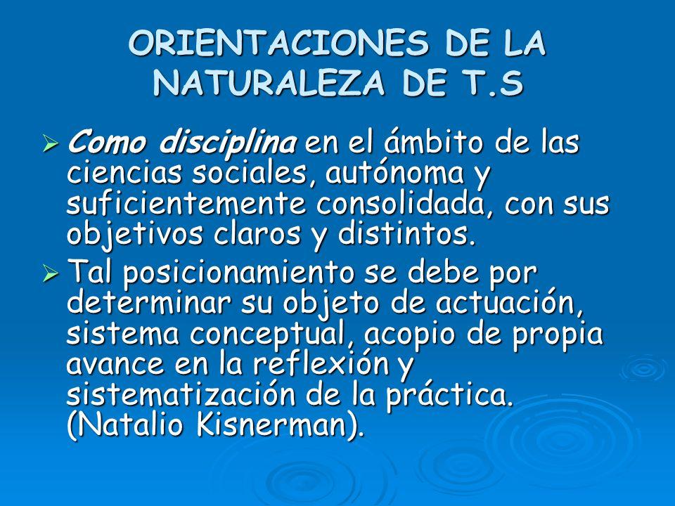ORIENTACIONES DE LA NATURALEZA DE T.S Como disciplina en el ámbito de las ciencias sociales, autónoma y suficientemente consolidada, con sus objetivos