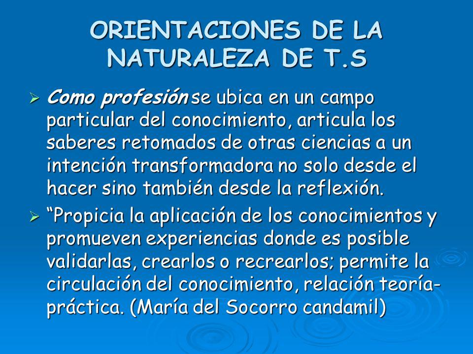 ORIENTACIONES DE LA NATURALEZA DE T.S Como profesión se ubica en un campo particular del conocimiento, articula los saberes retomados de otras ciencia