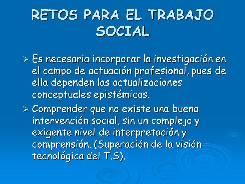 RETOS PARA EL TRABAJO SOCIAL Es necesaria incorporar la investigación en el campo de actuación profesional, pues de ella dependen las actualizaciones
