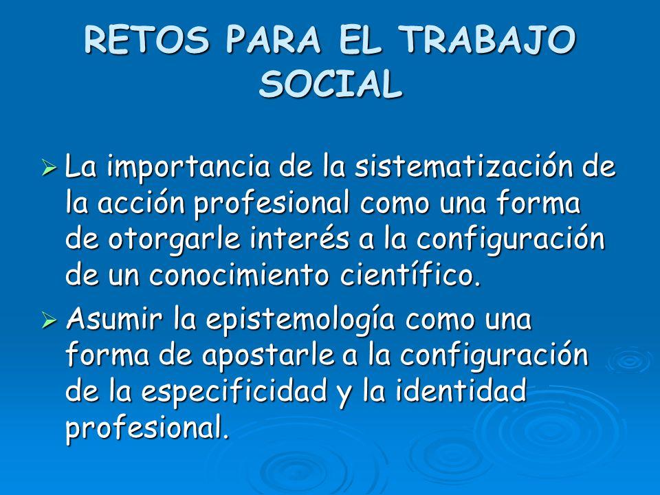 RETOS PARA EL TRABAJO SOCIAL La importancia de la sistematización de la acción profesional como una forma de otorgarle interés a la configuración de u