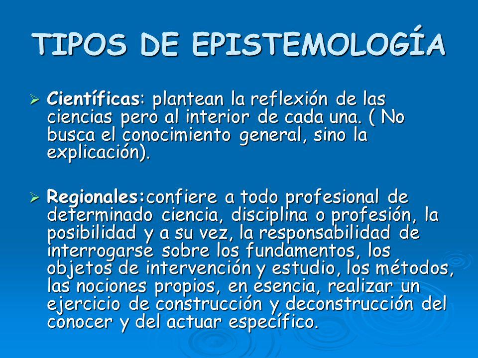 TIPOS DE EPISTEMOLOGÍA Científicas: plantean la reflexión de las ciencias pero al interior de cada una. ( No busca el conocimiento general, sino la ex