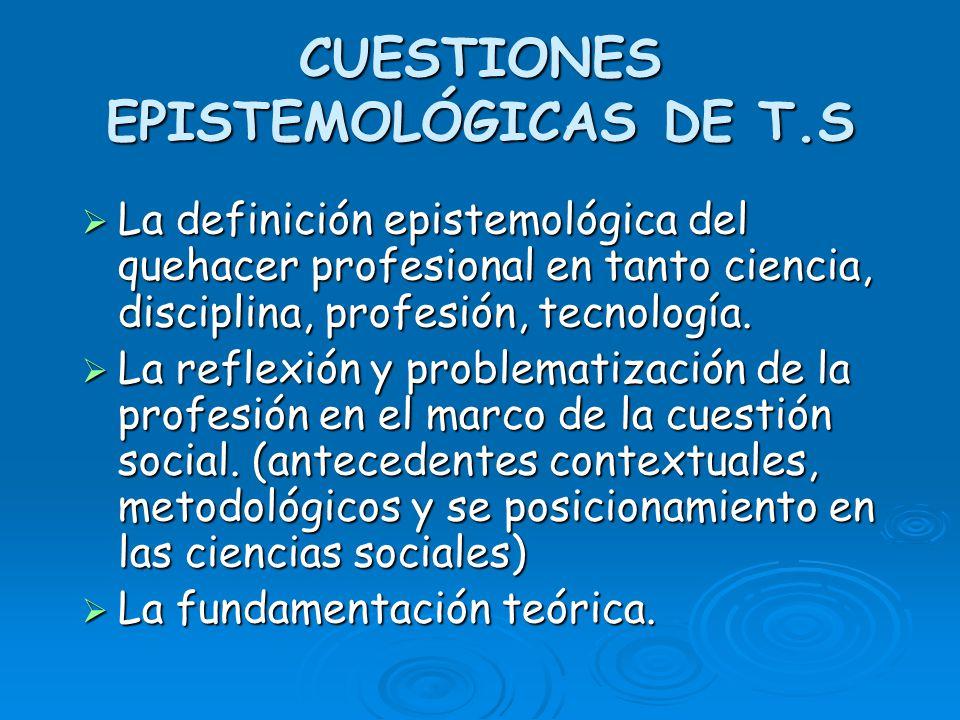 CUESTIONES EPISTEMOLÓGICAS DE T.S La definición epistemológica del quehacer profesional en tanto ciencia, disciplina, profesión, tecnología. La defini