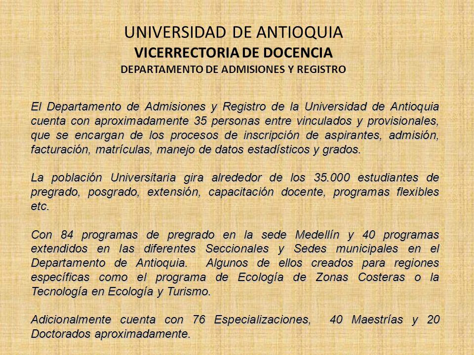 El Departamento de Admisiones y Registro de la Universidad de Antioquia cuenta con aproximadamente 35 personas entre vinculados y provisionales, que s