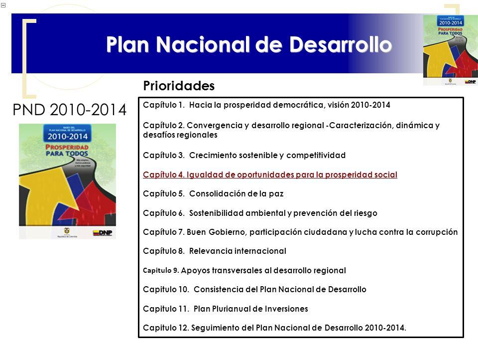 10 Plan Nacional de Desarrollo PND 2010-2014 Capítulo 1. Hacia la prosperidad democrática, visión 2010-2014 Capítulo 2. Convergencia y desarrollo regi