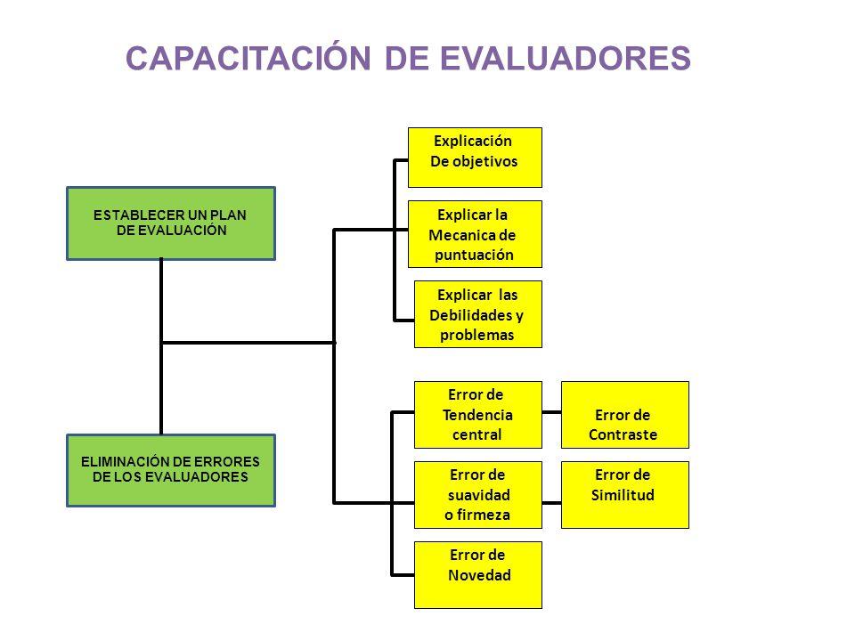 ESTABLECER UN PLAN DE EVALUACIÓN Explicar las Debilidades y problemas Explicación De objetivos Error de Tendencia central Error de suavidad o firmeza