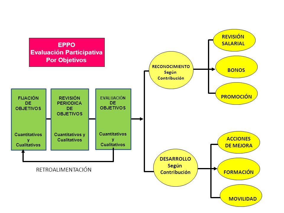 ALTO BAJO EVALUACIÓN DE OBJETIVOS EVALUACIÓN DE COMPETENCIAS EMPLEADOS ESTRELLAS TALENTOS SIN EXPLOTAR EMPLEADOS ESTABILIZADOS EMPLEADOS CON RENDIMIENTO INSUFICIENTE Matriz BCG Aplicada a la Evaluación del Desempeño