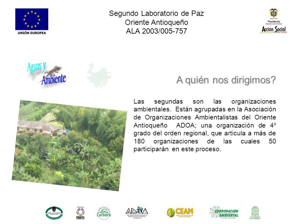 Segundo Laboratorio de Paz Oriente Antioqueño ALA 2003/005-757 Las segundas son las organizaciones ambientales.