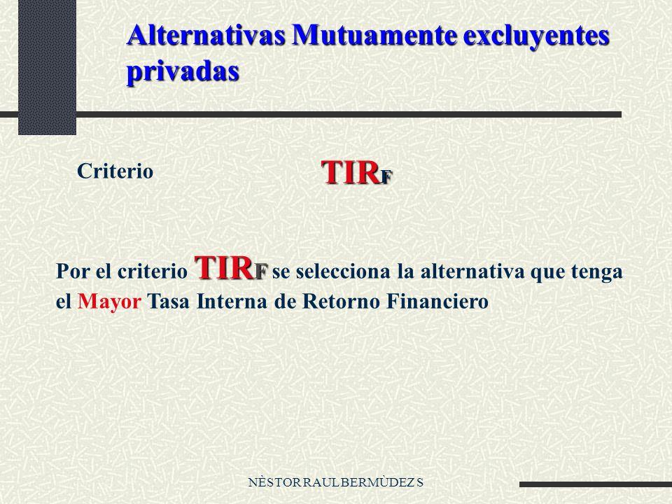 NÈSTOR RAUL BERMÙDEZ S Alternativas Mutuamente excluyentes privadas Criterio TIR F TIR F Por el criterio TIR F se selecciona la alternativa que tenga el Mayor Tasa Interna de Retorno Financiero