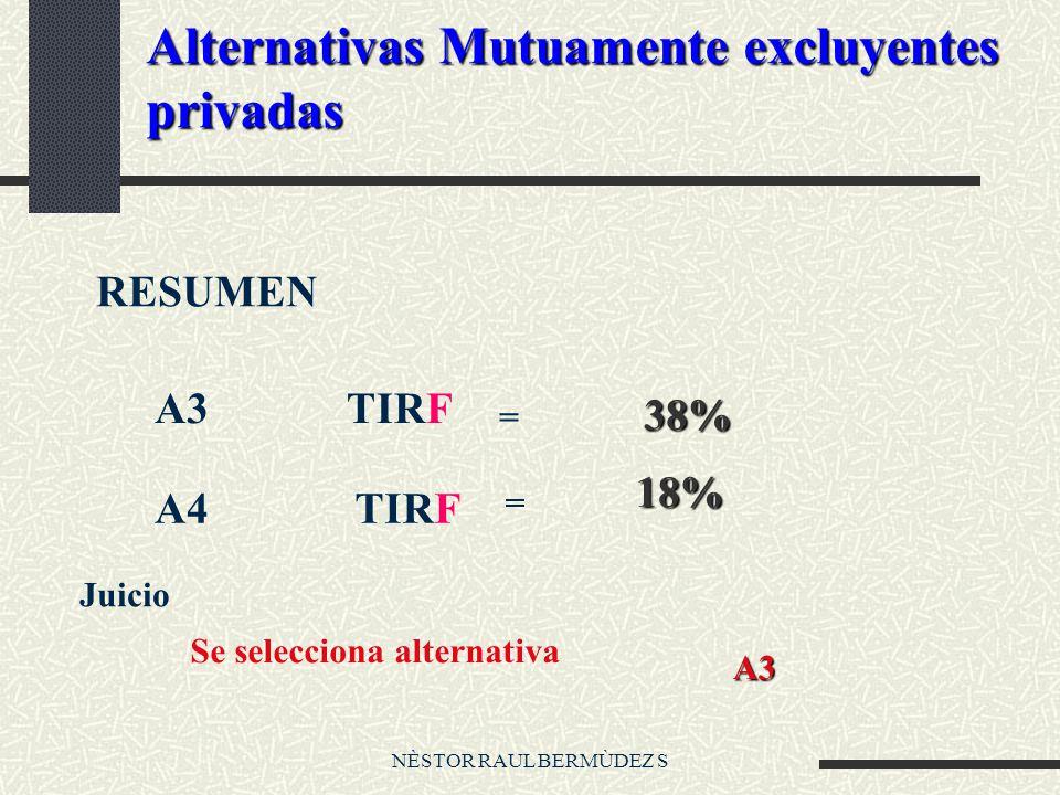 NÈSTOR RAUL BERMÙDEZ S Alternativas Mutuamente excluyentes privadas RESUMEN A3TIRF = 38% 38% A4TIRF = 18% Se selecciona alternativa A3 Juicio