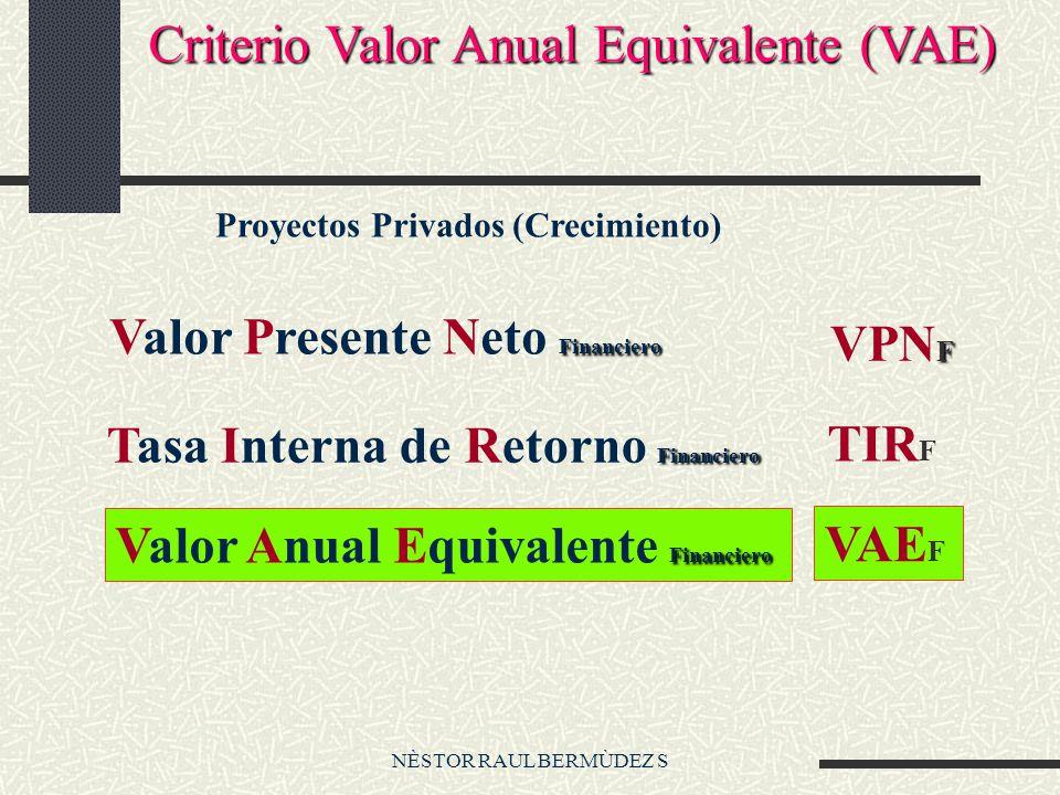 NÈSTOR RAUL BERMÙDEZ S Criterio Valor Anual Equivalente (VAE) Financiero Valor Presente Neto Financiero F VPN F Financiero Tasa Interna de Retorno Financiero TIR F Financiero Valor Anual Equivalente Financiero VAE F Proyectos Privados (Crecimiento)