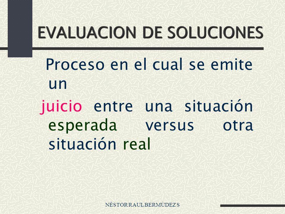 NÈSTOR RAUL BERMÙDEZ S EVALUACION DE SOLUCIONES Proceso en el cual se emite un juicio entre una situación esperada versus otra situación real