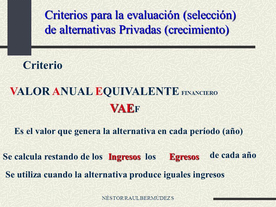 NÈSTOR RAUL BERMÙDEZ S Criterios para la evaluación (selección) de alternativas Privadas (crecimiento) Criterio VALOR ANUAL EQUIVALENTE FINANCIERO VAE