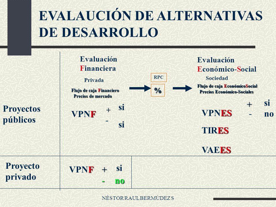 NÈSTOR RAUL BERMÙDEZ S EVALAUCIÓN DE ALTERNATIVAS DE DESARROLLO Proyectos públicos Evaluación Financiera Privada Flujo de caja Financiero Precios de m