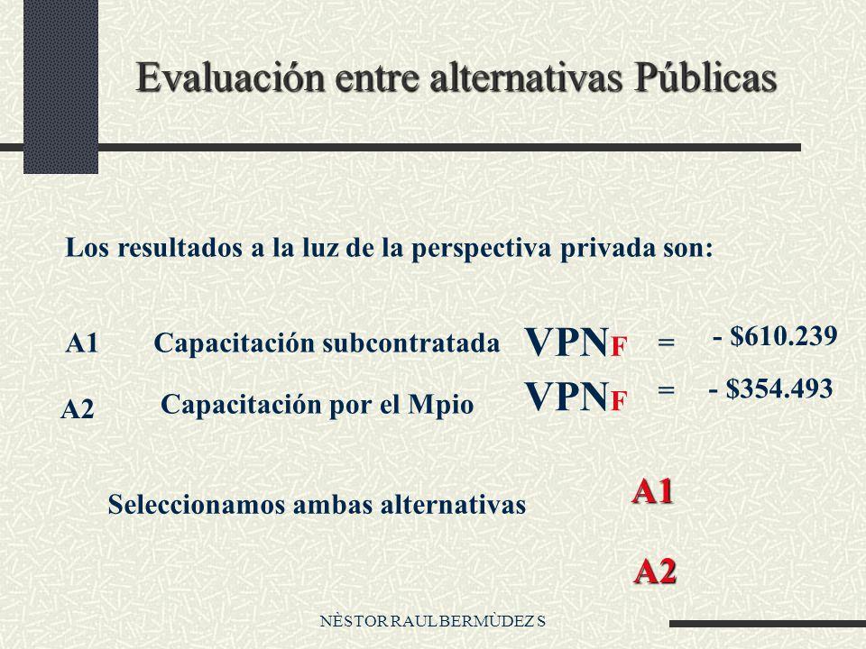 NÈSTOR RAUL BERMÙDEZ S Evaluación entre alternativas Públicas Los resultados a la luz de la perspectiva privada son: A1Capacitación subcontratada VPN