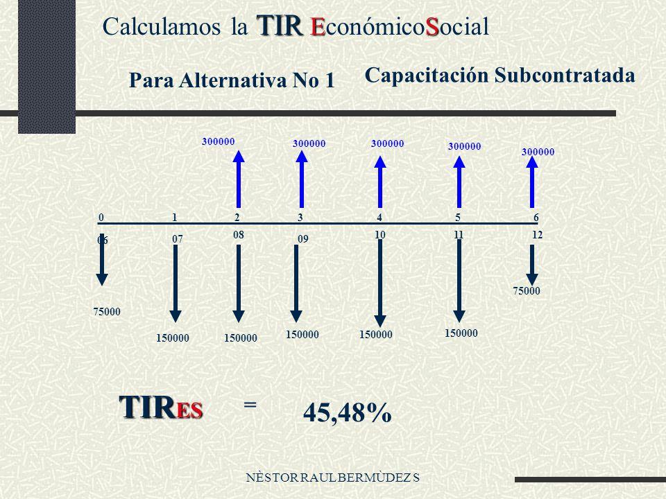 NÈSTOR RAUL BERMÙDEZ S TIR ES Calculamos la TIR EconómicoSocial Para Alternativa No 1 Capacitación Subcontratada 0123456 06 07 08 09 101112 75000 150000 75000 300000 TIR ES = 45,48%