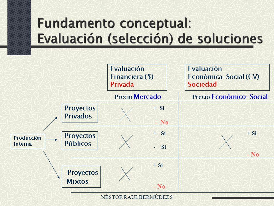 NÈSTOR RAUL BERMÙDEZ S Fundamento conceptual: Evaluación (selección) de soluciones Producción Interna Proyectos Privados Proyectos Públicos Proyectos