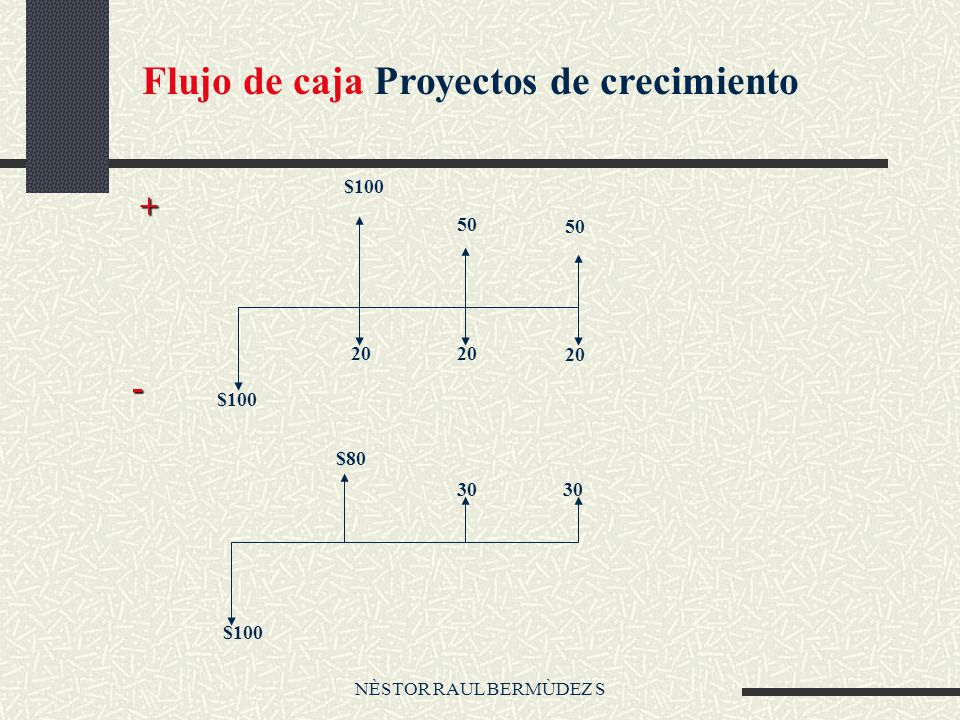 NÈSTOR RAUL BERMÙDEZ S Flujo de caja Proyectos de crecimiento $100 20 $100 50 $100 + - $80 30