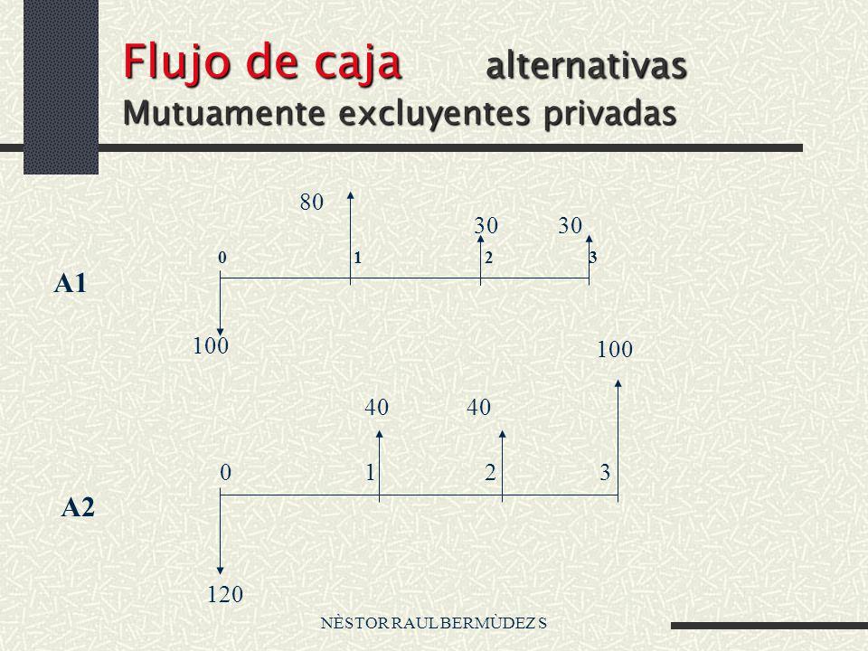 NÈSTOR RAUL BERMÙDEZ S Flujo de caja alternativas Mutuamente excluyentes privadas 80 100 30 120 40 100 A1 A2 0 1 2 3