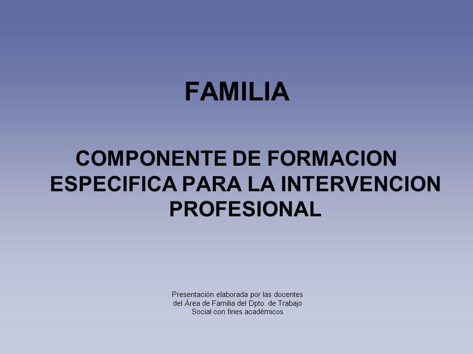 COMPONENTE DE FORMACION ESPECIFICA PARA LA INTERVENCION PROFESIONAL FAMILIA Presentación elaborada por las docentes del Área de Familia del Dpto. de T